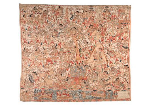 Bali Painting E074161: Scenes from Swarga on Balinese cotton cloth