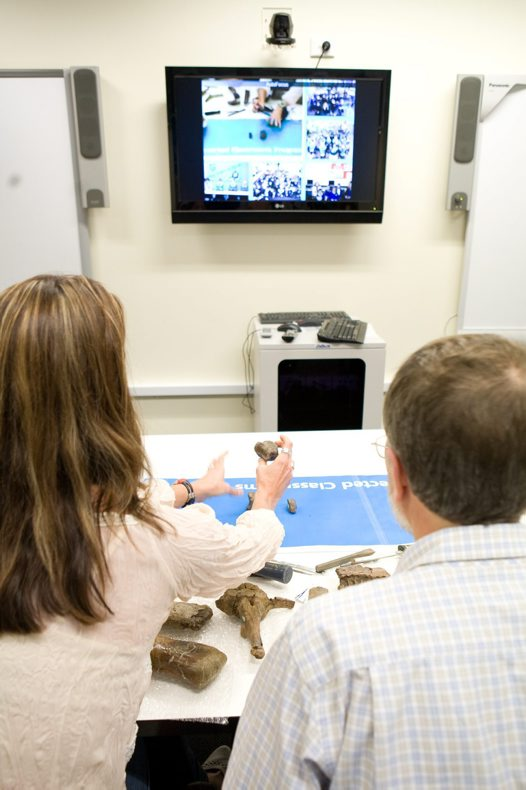 Museum staff video-conferencing