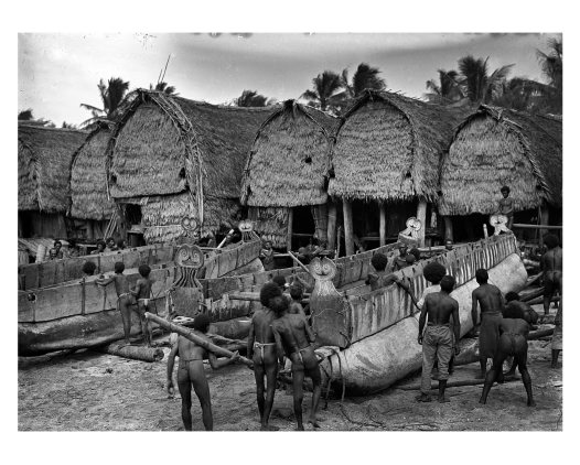 Repairing sailing canoes, Mailu Island, Amazon Bay, PNG