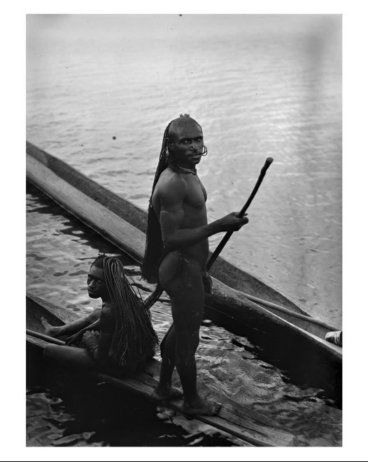 Men of Dukoif longhouse, Lake Murray, Western Province, PNG