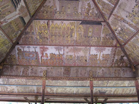 The ceiling of the Kerta Gosa pavilion