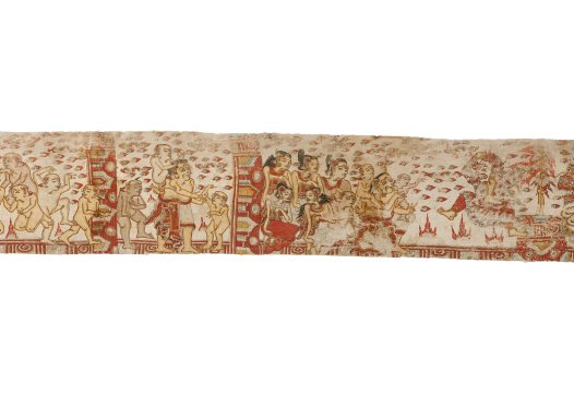 Pan and Men Brayut story, Balinese painting E74195C
