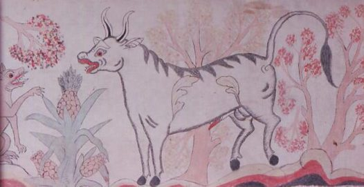 High Priest and Bull: Balinese paintning E74523C