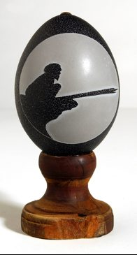 Carved Emu Egg - Hunter with Spear