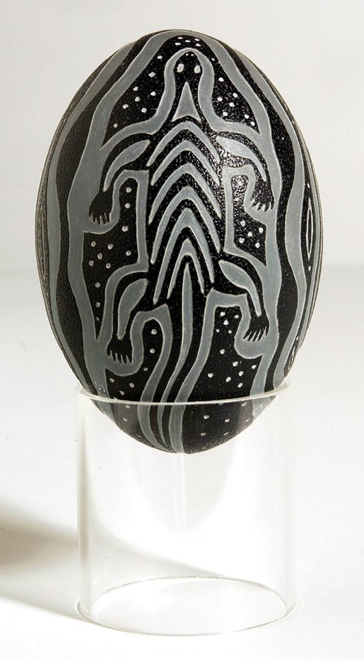 Carved Emu Egg - Badger Bates Echidna Side 1