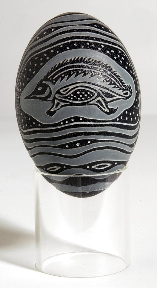 Carved Emu Egg - Badger Bates Echidna Side 2
