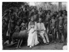 Missionary couple with local people, Milne Bay, PNG