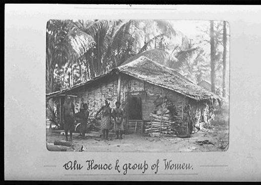 House and group of women, Alu, Western Solomon Islands
