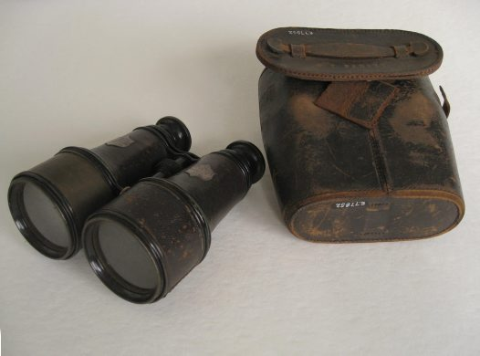 Binoculars presented by staff to Australian Museum Curator Edward Ramsay. 1883