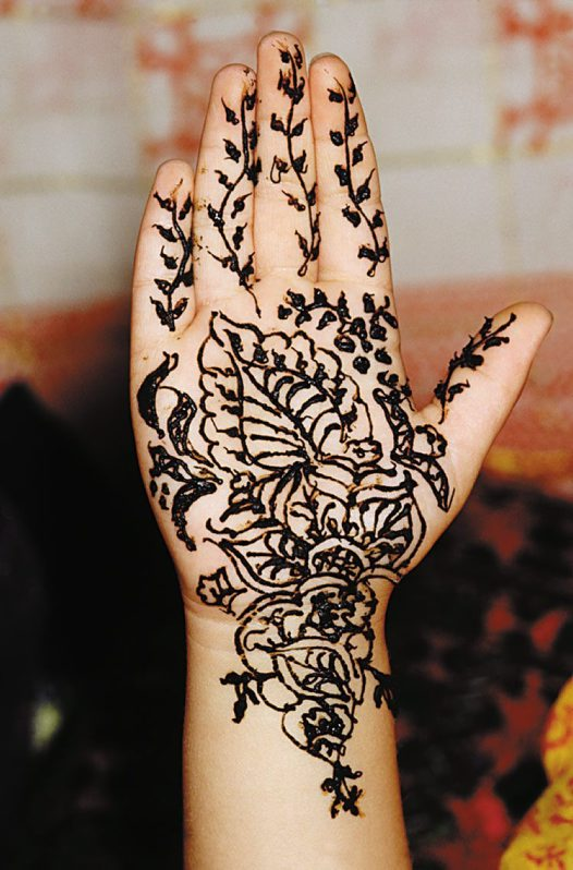 Freshly applied henna