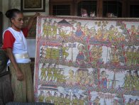 Mangku Muriati showing Mangku Mura's Painting, Bali, October 2010