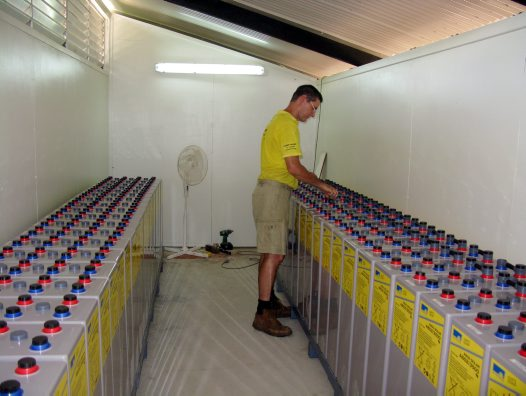 Battery room for Lizard Island Research Station solar power plant