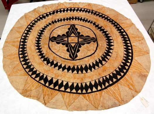 Round tapa cloth after treatment
