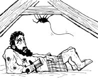 Robert the Bruce was lying exhausted in a barn with Spider