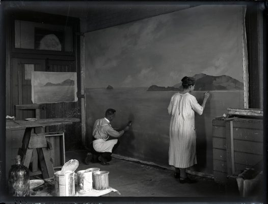Painting background of Lord Howe Island diorama