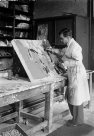 Oliver Chalmers painting geological relief map