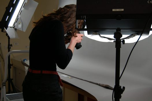 Kate photographing a spear