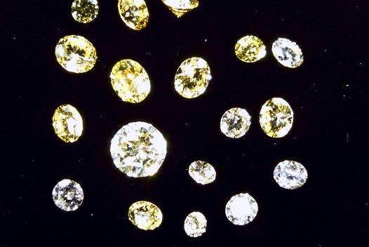 Faceted diamonds. Copeton, New South Wales