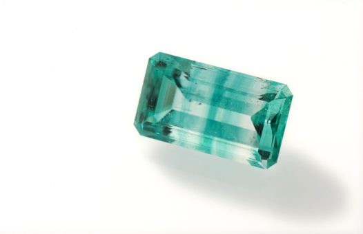 Emerald zoned beryl, cut stone, Torrington, New South Wales