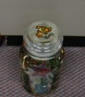 Hand painted glass jar