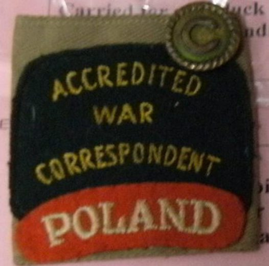 War Correspondent Badge WWII