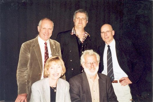 Robyn Williams, Paul Willis, Clive Hamilton, Kristine Barlow-Stewart and Sir John Sulston.