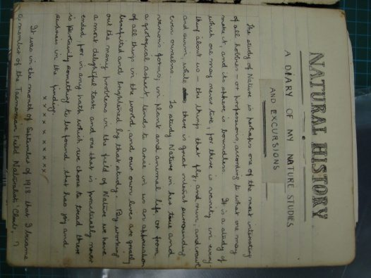 First page of Sharland's diary, 1918