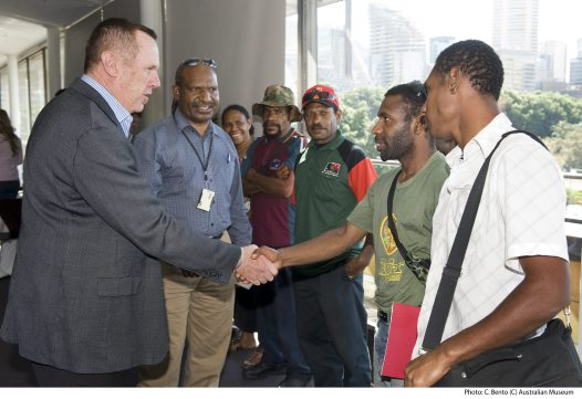 Frank Howarth, Australian Museum's Director welcomes Papua New Guinea delegation