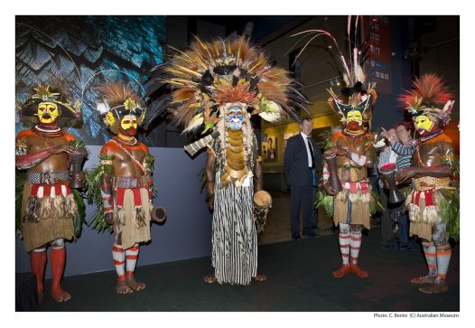 Huli and Waghi men at the opening of exhibition: Rituals of Seduction: Birds of Paradise