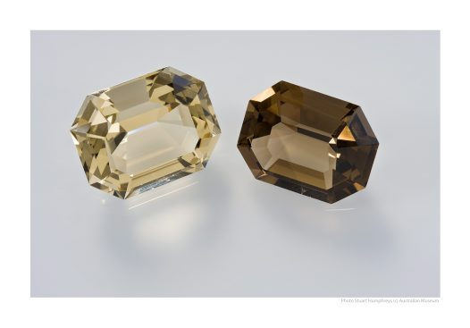 Faceted citrine (102 ct) and smoky quartz (69 ct). Oban River, New South Wales