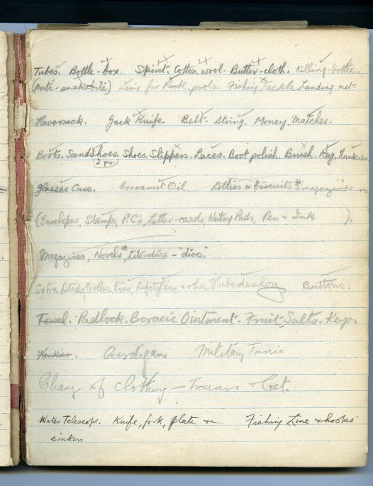 Equipment list for field trip, 1923