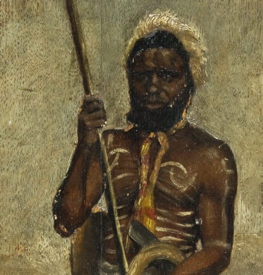 Aboriginal Warrior - Painting (detail): E67342
