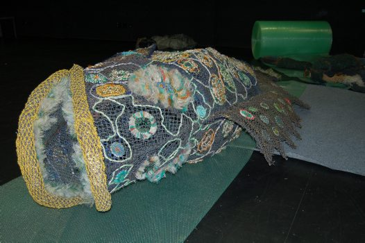 Ghost net art: Dauma and Garom wrapped for transport to Sydney #1
