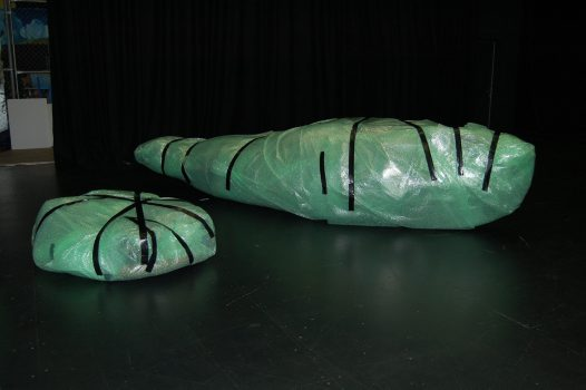 Ghost net art: Dauma and Garom wrapped for transport to Sydney #4