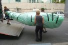 Ghost net art: Dauma and Garom wrapped for transport to Sydney #5