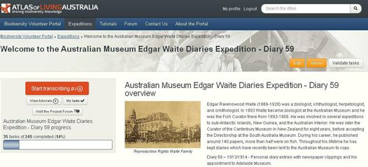 Edgar Waite Diaries Virtual Expedition