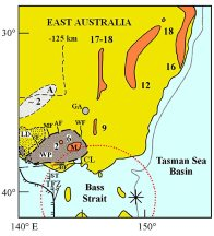 Volcanic distribution map of southeast Australia