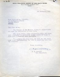 Royal Zoological Society letter