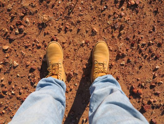 Jo Stewart's feet in the Simpson Desert
