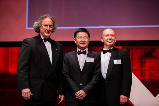 Professors Dayong Jin (centre) and Bradley Walsh (right) with Professor Les Field (left)