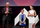 2015 Sleek Geeks Science Eureka Prize Winner Paige Bebee (right) with Milla Bebee and Dr Karl Kruszelnicki