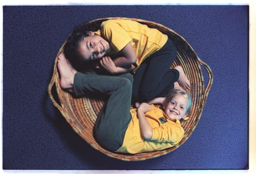 Students in a basket