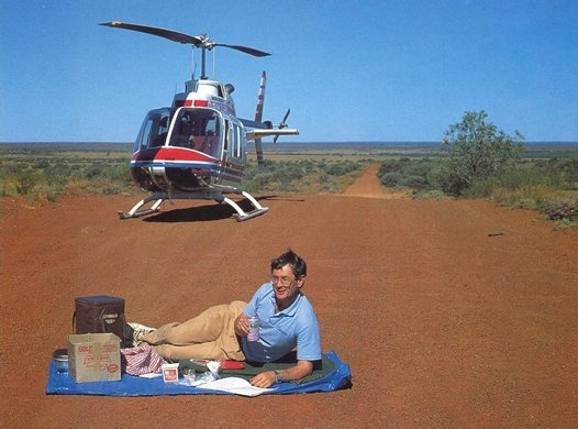 Dick Smith having lunch on the Gunbarrel Highway, 1988