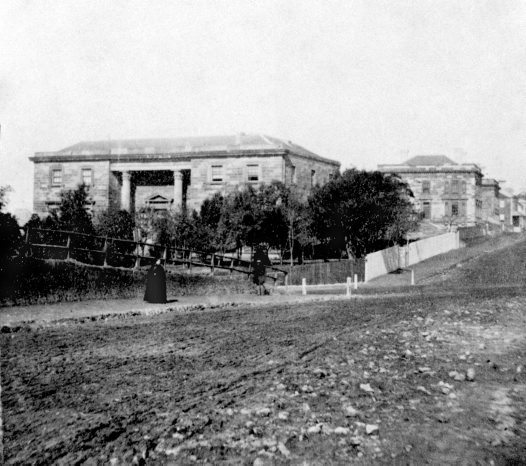 The oldest known photograph of the Australian Museum, about 1855.