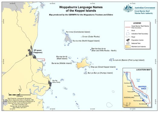 Woppaburra Language Names Of The Keppel Islands Australian Museum - Australian language map