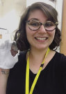Rachelle Ayoub with stone tool from Frazer collection