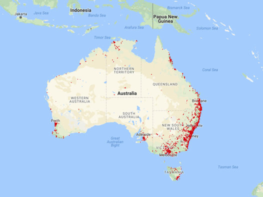 map of frog calls submitted from accross australia as part frogid