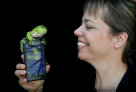 Jodi Rowley and Godzilla celebrate the launch of FrogID