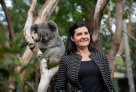 Professor Rebecca Johnson and Koala at the announcement of the successful mapping of the complete Koala genome