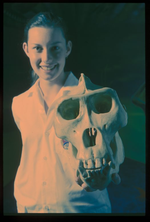 Student with gorilla skull